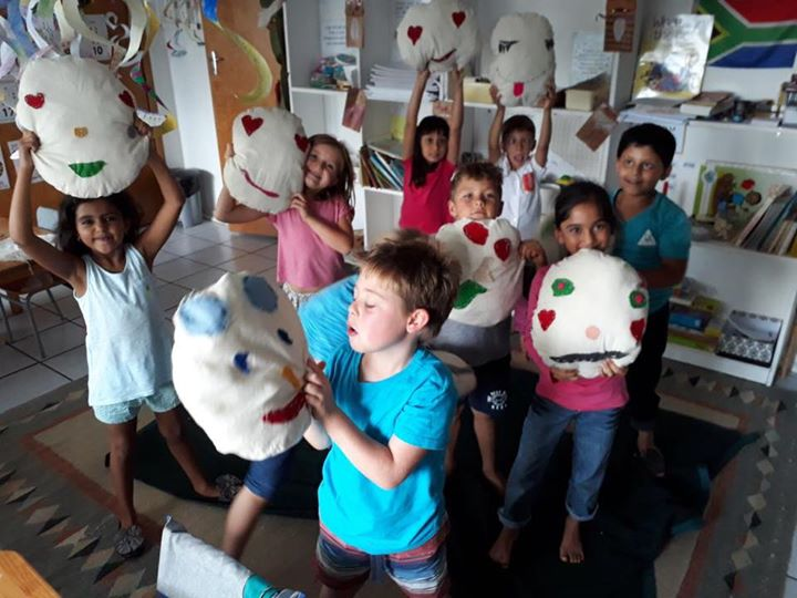 Grade 1 sewing project. Wonderful emoji cushions, created by the children, to use in the classroom. #kairos #grade1 #sewing